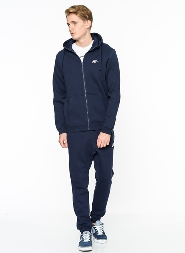 Nike Kapüşonlu Fermuarlı  Sweatshirt Mavi